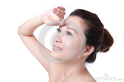 Young Skincare woman smile face close up
