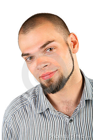 Young skinhead beard man isolated