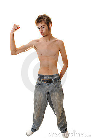 Young Skinny male flexing