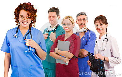 Young smiley female doctor and her team