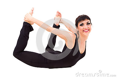 Young smiling acrobat posing