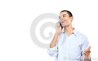Young smiling black businessman talking on cell phone