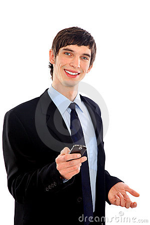 young smiling business man using cell phone