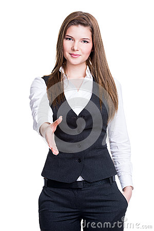Free Young Smiling Business Woman Give Handshake. Stock Photography - 38944642