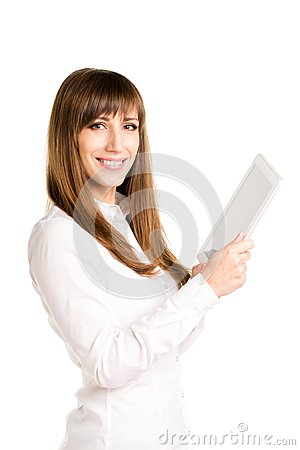 Free Young Smiling Business Woman Using Tablet Computer Stock Photography - 47229562