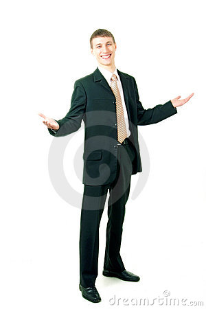 Young smiling businessman greeting