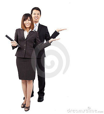 Young smiling businesswoman and businessman