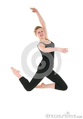 Young smiling dancer female in black leotard