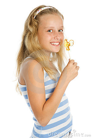 Young smiling girl with lollipop  candy