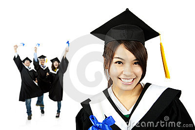Young smiling graduate asian girl