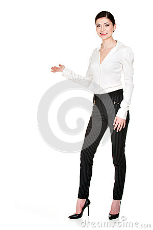 Free Young Smiling Happy Woman Shows  Something Royalty Free Stock Photo - 30197655
