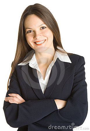 Young smiling woman in a business suit