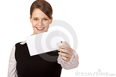 Young smiling woman holds business card in camera