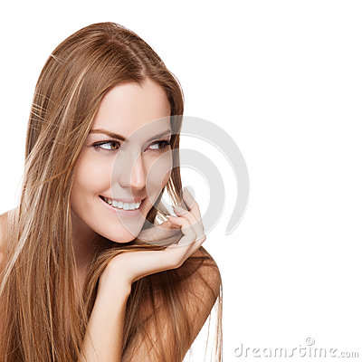 Young smiling woman with straight long hair