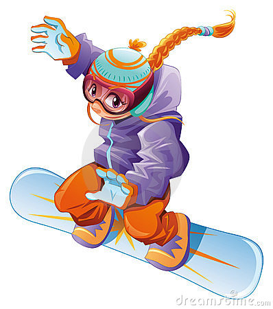 Young snowboarder girl.