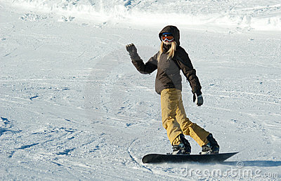 Young snowboarder girl