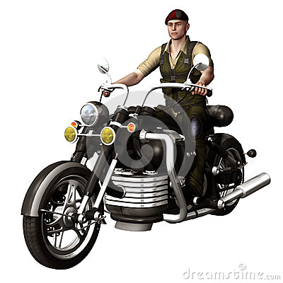 Young soldier on a motorbike