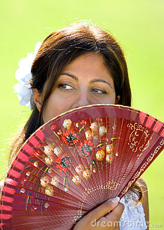 Free Young Spanish Girl Or Woman Holding Traditional Fan Stock Image - 377531