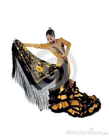 Free Young Spanish Woman Dancing Flamenco In Typical Shawl Folk Tailed Gown Dress Royalty Free Stock Image - 44894046