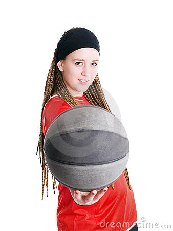 Young sport woman holding ball over white