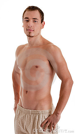 Young sportsman with a bare torso