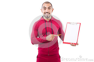 Young sportsman with binder Stock Photo