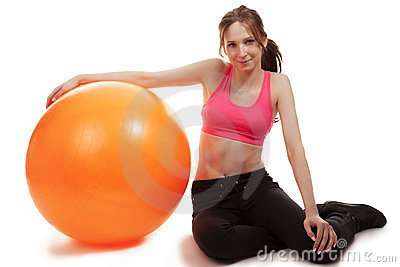 Young Sporty Woman With A Fitness Bal Stock Photo - Image: 24125470