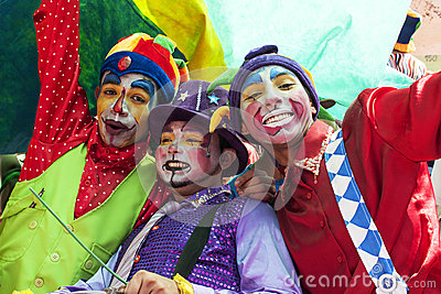 Young street clowns Editorial Stock Photo