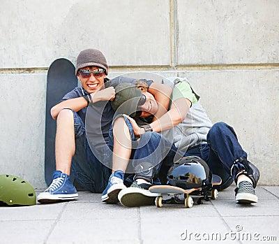 Young street smart men having fun