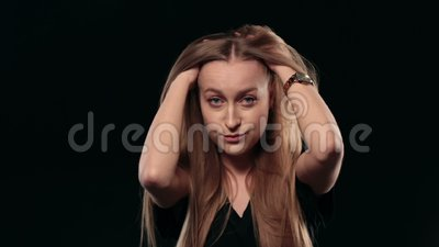 Young stressed woman thinking over problem stock video footage