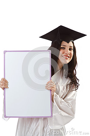 Young student with  board