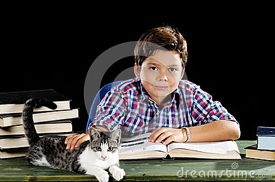 Young student with cat