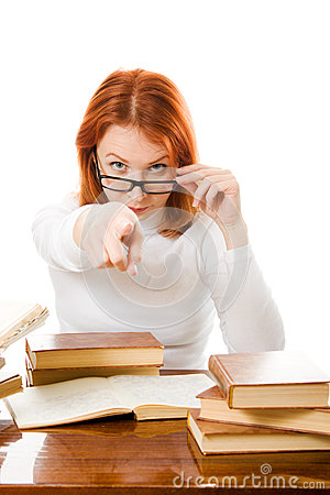 Young student with her books in glasses