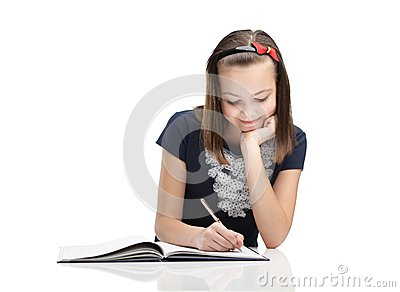Young student, isolated, white background