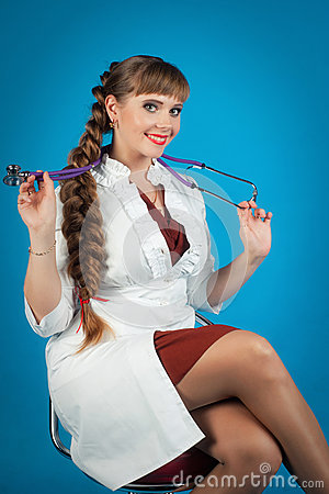 Young student of medicine with stethoscope Stock Photo