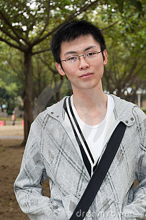 Young student at park