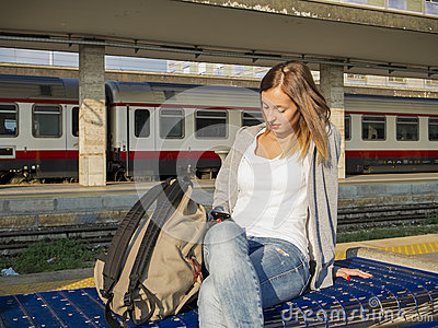 Young student in train station
