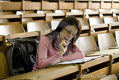 Young student at the university during exam