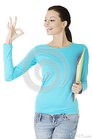 Young student woman gesturing perfect.