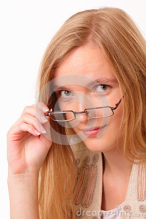 Young student woman with glasses