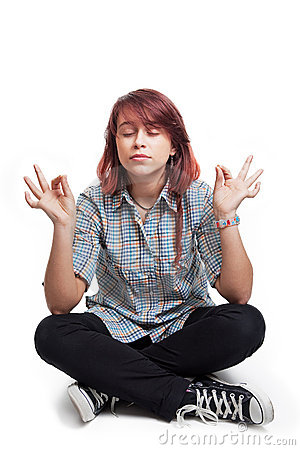 Young student woman in yoga position