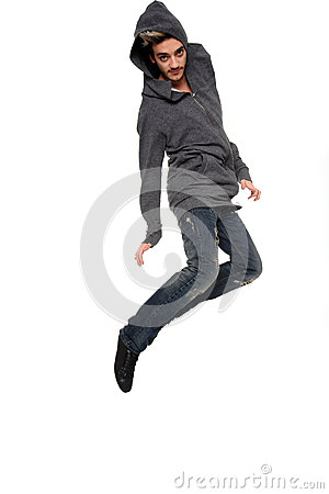 Young stylish man in the air