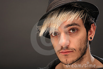 Young stylish man with hat