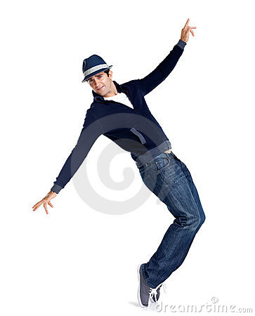 Young stylish man is showing dance moves on white