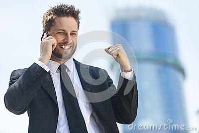 Young Successful Business Man Talking Cell Phone