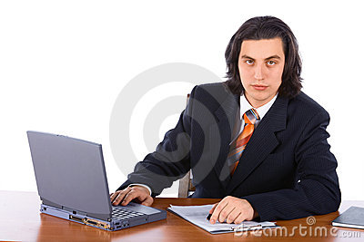 Young successful businessman with laptop