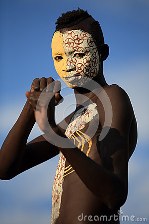 Young Suri warrior with body painting Editorial Photo