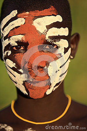 Young Suri warrior with face painting Editorial Photography