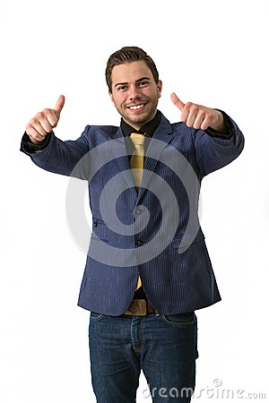 A young sympathetic businessman doing thumbs up