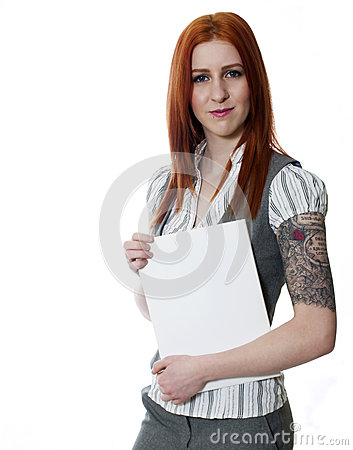 Free Young Tattooed Business Woman On White Background Holding White Stock Photos - 38493283